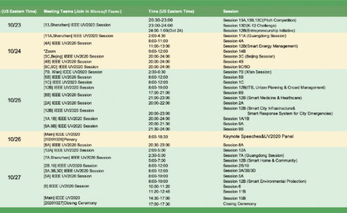 Session Schedule of IEEE UV2020